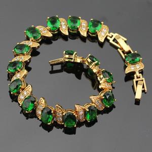 WPAITKYS Pedras Verdes Cor do ouro conjuntos de jóias para as mulheres do partido pulseira brincos longos colar de pingente Anéis caixa livre dom
