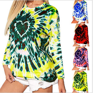 Women Sweater Pullover Fashion Love tie-dye print long sleeve t-shirt Hoodies Hooded Tops Valentine's Day plus size clothing SALE E120504
