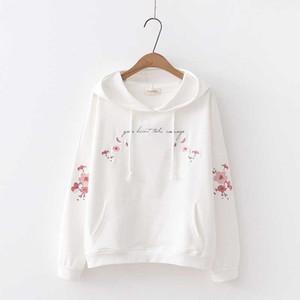 Spring Automne Automne Sweet Cotton Sweatshirts Sweatshirts Femmes Drop Trop épaule Plum Fleur Broderie Lâche Sweats Sweats Student Manteaux minces1
