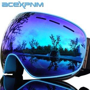 ACEXPNM Marka Çift Katmanlar UV400 Buğulanmaz Büyük Kayak Gözlük Kayak Erkekler Kadınlar Kar Snowboard Goggles Maske