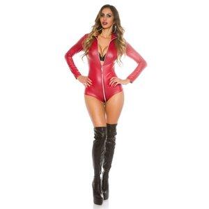 Hodisytian Femmes Lingerie Jumpseau en cuir Combinaison Costume Bormon Zipper Femme Sexy Clubwear NY BodySuits PlaySuit Plus Taille
