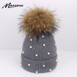 Wool Beanies Women Real Natural Fox Fur Pom Poms Fashion Pearl Knitted Hat Girls Female Beanie Cap Pompom Winter Hats for Women Y201024