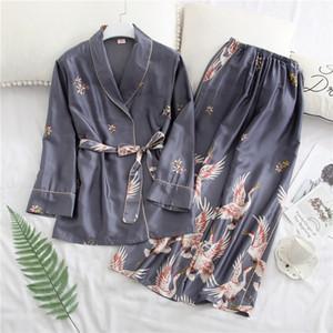 Women Pajamas Sets Satin Nightwear Robe Pijamas Women Sexy Silk Ladies Pyjamas Long Sleeve Sleepwear Autumn Nightwear Femme 201106