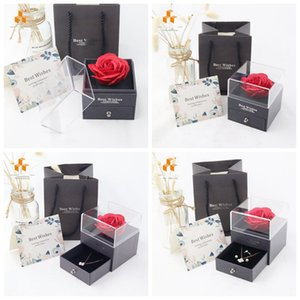 Artificial Rose Flower Jewelry Box Romantic Valentine's Day Mother's Day Festival Creative Gift Rose Soap Flower Jewelry Box Gift Wrap R4025