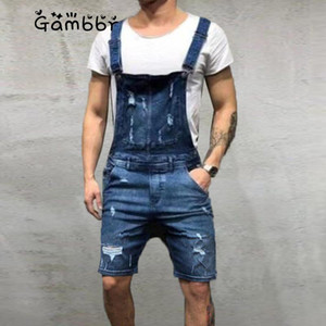 Men Ripped Jean Hole Jumpsuits 2020 Summer Fashion Trousers Distressed Denim Pocket Bib Overalls for Man Suspender Straps Shorts