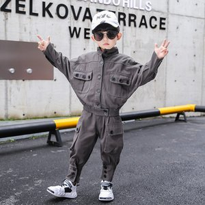 Children's Clothing For Boys High Quality Loose Casual Top & Pants Button Design Spring Fall Fashion Kids Suit For Boy Outfit Y1117