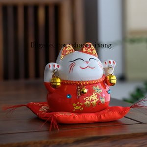 5 inch ceramic Japan Eight Real Money lucky cat Ceramic Ornament Cute Fat Happy Maneki Neko Piggy Bank For Home Decor Toy Gift D1030