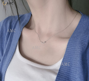 AMC Tiff 925 Sterling Silver Jewelry Smile Necklace Multi style Large Medium and Small Size Women Jewelry Wholesale Girlfriend gift