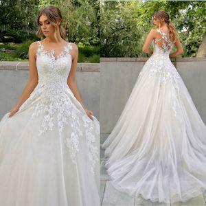 Sexy Jewel Neck Lace Wedding Dresses A Line 2021 New Fashion Invisible Neckline Tulle Boho Beach Wedding Dress Sweep Train Vestido De Noiva