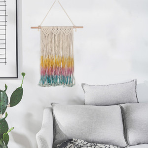 Bohemian Woven Tapestry Colorful Tassel Wall Decoration Nordic Home Handmade Vintage Knitting Tapestry Home Office Wall Decoration Tapestry