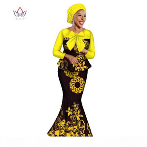 BRW 2019 New african skirt sets for women lace fabric mix print wax fabric skirt suit top+skirt+headwrap wedding clothing WY2316