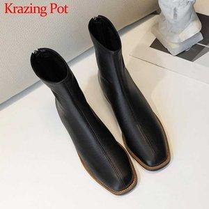 Krazing pot style européen de style véritable cuir véritable mode de loisir femme chaussures rondes tobe talons Med Talons à fermeture éclair hiver cheville bottines l16 201102