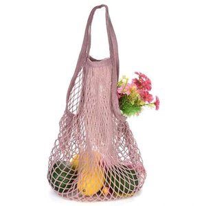 String Reusable Supermarket Grocery Tote Mesh Net Woven Cotton Fruit Vegetables Bag for Shopping DHB1420