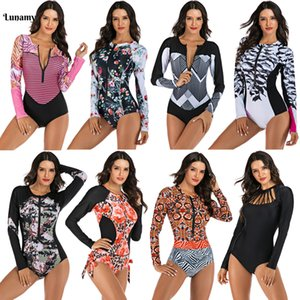 Lunamy colorido manga comprida um pedaço de maiô mulheres swimwear swimwear roupa de surf bodysuits beachwear com zíper maiô feminino t200708