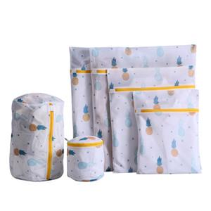 Ananas-Druck-Reißverschluss Mesh-Wäschesack-Tasche Polyester-Waschen-Net-Tasche für Unterwäsche-Socke Waschmaschine Tasche Kleidung BH Bags 12 N2
