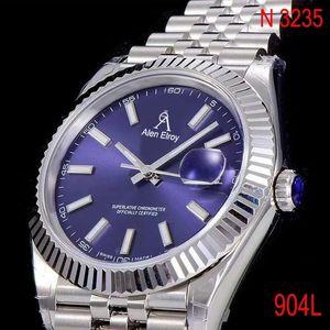 904L Lüks Gümüş Tarih-Sadece-Mekanik İzle Erkekler Safir Cam Mavi Kadran İzle E T A N 3235
