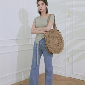 Hot Sale Bohemian Round Rattan Bags Woven Straw Women Handbags Handmade Wicker Shoulder Bags Large Capacity Lady Casual Summer Beach Bag