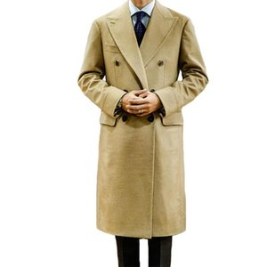 One Piece Men Suits Newest Khaki Wool Cotton Thick High Quality Formal Windbreaker Outfit Customized Double Breasted Long Coat