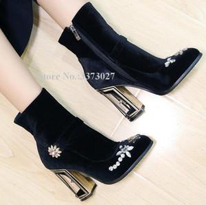 New velvet Strange Strange Style Style Heel Donne Stivaletti Elegante Pink Black Crystal Chunky Heel Short Boots Lady Wedding Shoes1