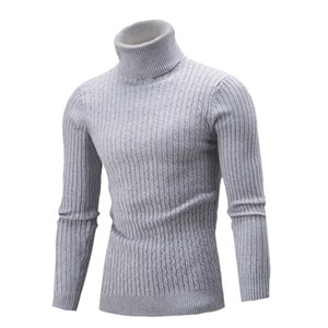 Men Solid Color Knitted Top Autumn and Winter Basic Shirts Turtelneck Male Long Sleeve Casual Pullover Sweater