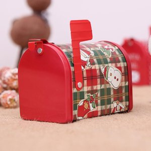 Christmas Paper Mailbox Xmas Candy Boxes Christmas Iron Mail Post Red Storage Box New Year Xmas Bakery Packaging Gift Decor SEA SHIP DHC4369