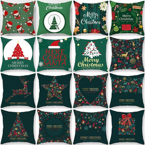 1Pcs Christmas Tree Green Pattern Cushion Cover Polyester 45*45cm Decorative Pillowcase New Year Sofa Home Car PillowCover 40998