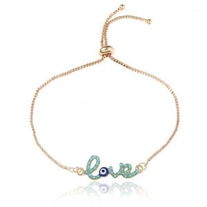 New Simple Love Design Turkish Gold Chain Evil Eye Bracelet Crstal Blue Eye Gold Bracelets for Women Girls Dubai1