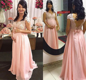 2021 Maternity Prom Dresses Empire Pregnant Lace Beaded Sash Bow Plus Size Evening Party Gowns Chiffon A Line Backless Abendkleider AL7826