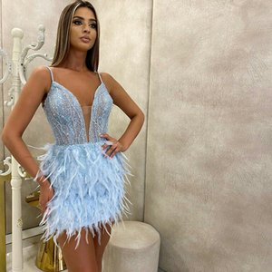 Spaghetti Straps Crystal Beading Feather Mini Prom Dress Cocktail Party Gowns robes de mariée Club Party Wear
