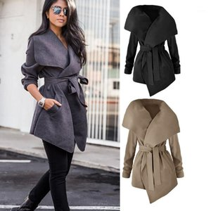2019 elegant King-size Coat with belt woman clothing open stitch asymmetric length solid office lady coat1