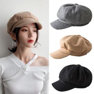 Women Wool Cotton Blend Berets Winter Autumn Octagonal Beret Caps Stylish Artist Painter Newsboy Hats Black Grey Beret Hats