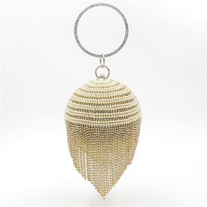 Handmade Pearl Ball Diamond Evening Tassel Bag Clutch with Satin PU for Wedding Banquet Party Dinner Bag