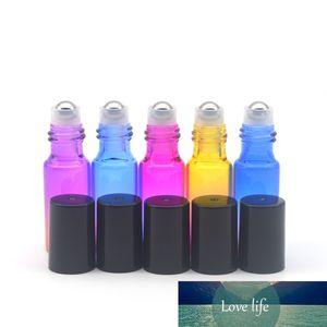 50pcs Empty 5ml Roller Glass Bottle Fragrance Essential Oil Perfume Sample Gradient Colorful Roll Bottle