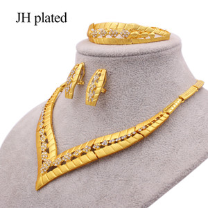 Jewelry sets for women gold color necklace earrings ring bracelet African bridal wedding gifts Wholesale jewellery collares set Z1201