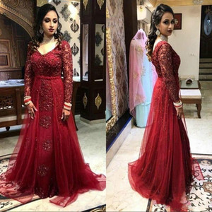 Burgundy Luxury Beaded Evening Dresses Long Sleeves V Neck Overskirt Tulle 2021 Custom Made Floor Length Plus Size Formal Prom Party Gowns