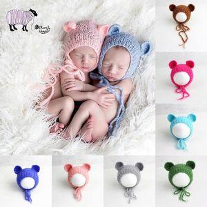 Newborn Baby Girl Boy Mohair Bear Hat Photography Props Baby Photo Shoot Studio Posing Props Caps Infant fotografia Accessories