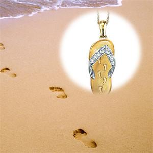 Ayak İzi Özgünlük Kolye Kolye Terlik Charms Kadın Erkek Rhinestone Kolye Altın Kaplama Gümüş Kaplama Takı Aksesuarları 2XQ L2