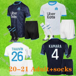 adult kit socks 2020 2021 Olympique de Marseille Soccer jersey 20 21 OM Marseille PAYET L.GUSTAVO THAUVIN BENEDETTO football shirts