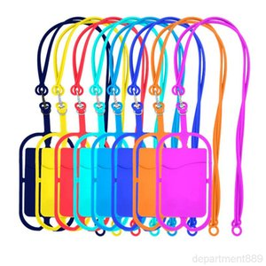 Universal Soft Silicone Card Slot Holder Cell Case with Lanyard Neck Strap Pouch for Mobile phone DHF2487