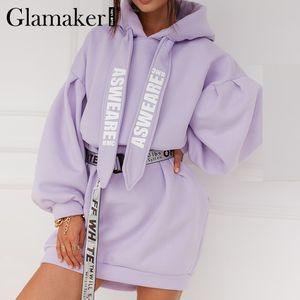 Glamaker Purple loose sweatshirt hoodies fashion women casual autumn long sleeve sweatshirt dress female oversize sweatshirt LJ201120