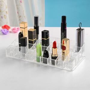 Lips OrganizersTransparent Acrylic Desktop Lipstick Holder 36-Grid Lipstick Holder Display Lip Gloss Lipstick Storage Box Large-Grid Box
