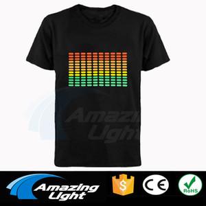 Hot venda sonora Ativa camisa Equalizer El T Equalizer Luz até descia música Flashing camisa T ativadas levou t-shirt 1117
