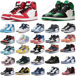 2021 Pino Verde Nero 1S Scarpe da basket Jumpman 1 Bloodline Uomini Sneakers Sneakers senza paura Ossidiana Unc Bianco Black Toe Top Trainer