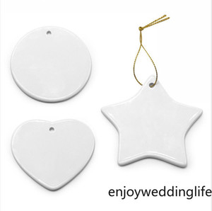 Sublimation Blank Ceramic Pendant Creative Christmas Ornaments Heat Transfer Printing DIY Ceramic Ornament 9 Styles Accept Mixed