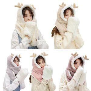Women Winter Warm Reindeer Antler 3 In 1 Plush Hoodie Hat with Long Scarf Gloves