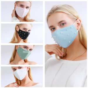 Party Maske Perle Mund Winddicht Tuch Atme Wiederverwendbare Masken Gedruckt Staub Baumwolle Cover Gesichtssicherer Erwachsener Schutz Waschbar Kristall FY0116