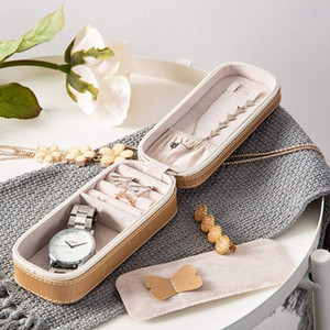 Delicate Small Rectangle Jewelry Storage Box PU Leather Organizer Travel Carrying Case Portable Watch Earrings Zipper Container Z1123