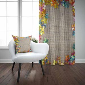 Else Brown Wicker Yellow Orange Green Blue Flowers 3D Print Living Room Bedroom Window Panel Curtain Combine Gift Pillow Case