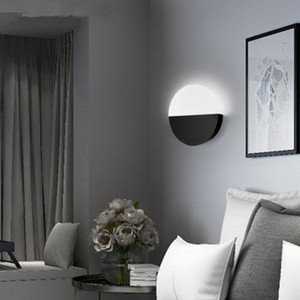 Nordic bedroom bedside lamp Sunset round led wall lamp living room background wall acrylic aisle