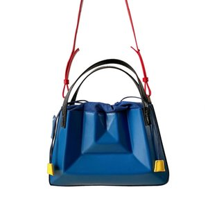 Designer-Unique Chic Leather Organ Bag Large Drawstring Bucket Bag Geometric folded Female Handbag portable Diagonal Cross Shoulder